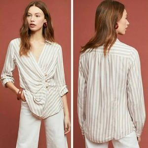 MAEVE Striped Wrap Button-Front Top NEW